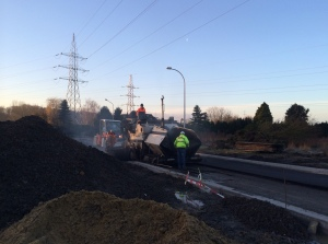 Bocht Bodegemstraat: aanbrengen asfaltonderlaag