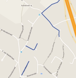Werkzone aangeduid in blauwe kleur