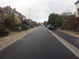 Afgewerkte Moeremanslaan met breed voetpad links en afgebakend parkeren rechts
