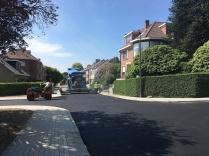Eerste asfaltlaag in aanleg
